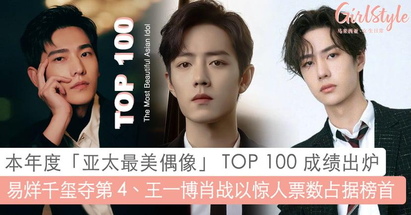2020 亚太最美偶像 TOP 100 !肖战、王一博票数近 1亿稳居榜首,TFBOYS 3 成员都上榜了!