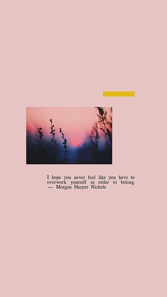 「I hope you never feel like you have to overwork yourself in order to belong. 成长过程中或有十分迷茫的时候、或有太多阻碍和诱惑的时候…希望你在找寻和塑造自我的同时,不要疲惫于改变自己去迎合别人,不要否定和摒弃真实的自己,更不要忘了自己和初心。❤️」