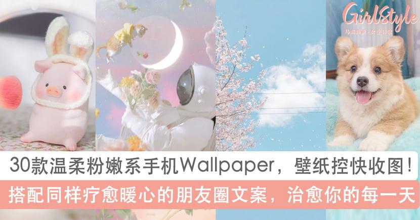 Wallpaper控快收图!精选30款温柔粉嫩系手机壁纸+朋友圈文案,治愈你的每一天